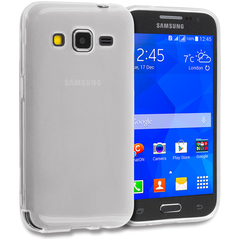 Samsung Galaxy Prevail LTE Core Prime G360P 2 in 1 Combo Bundle Pack - Clear TPU Rubber Skin Case Cover : Color Clear
