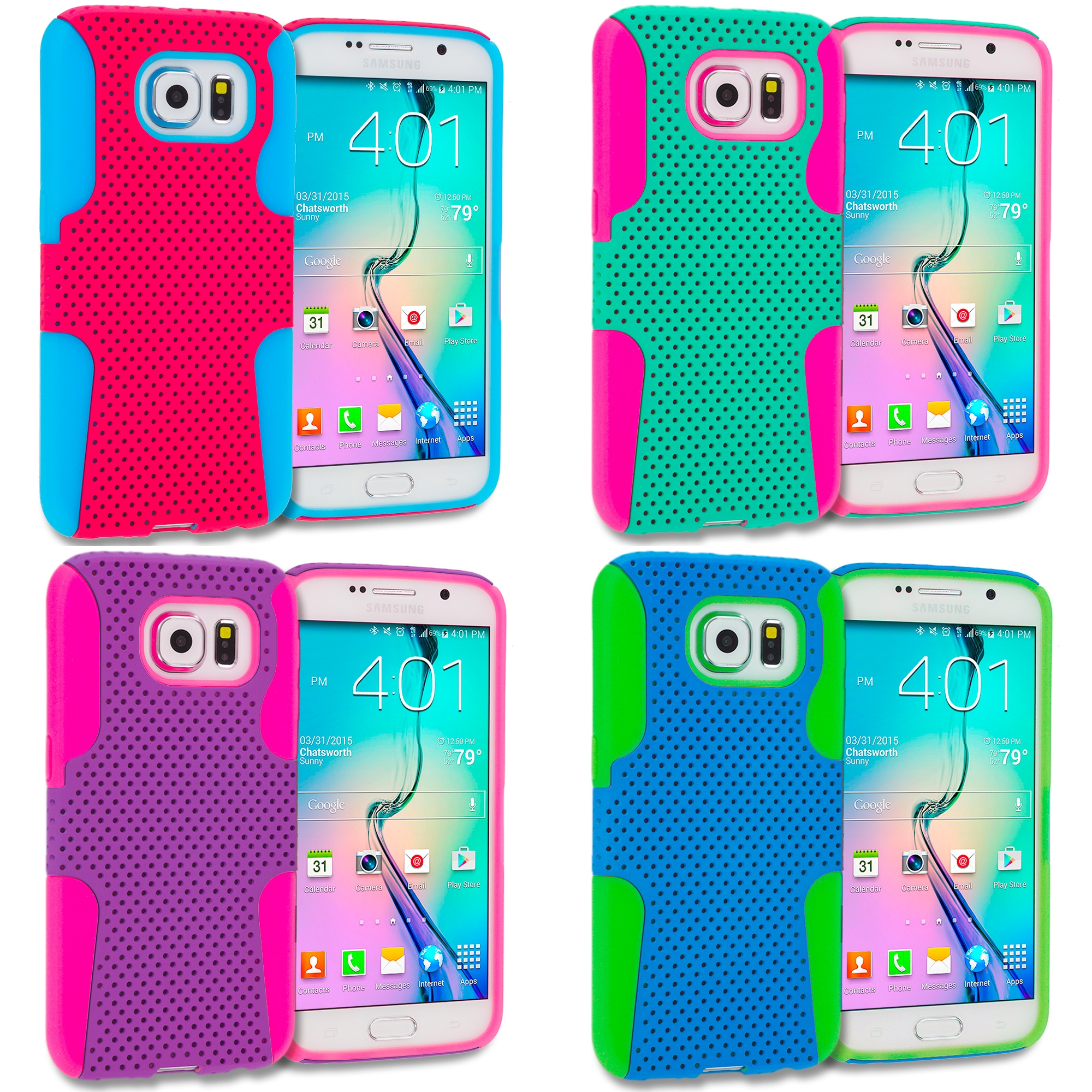 Samsung Galaxy S6 Combo Pack : Baby Blue / Hot Pink Hybrid Mesh Hard/Soft Case Cover