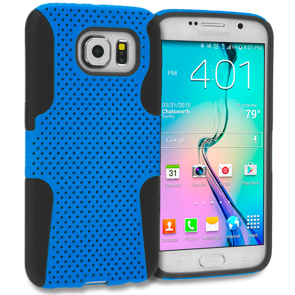 Samsung Galaxy S6 4 in 1 Combo Bundle Pack - Hybrid Mesh Hard/Soft Case Cover : Color Black / Baby Blue