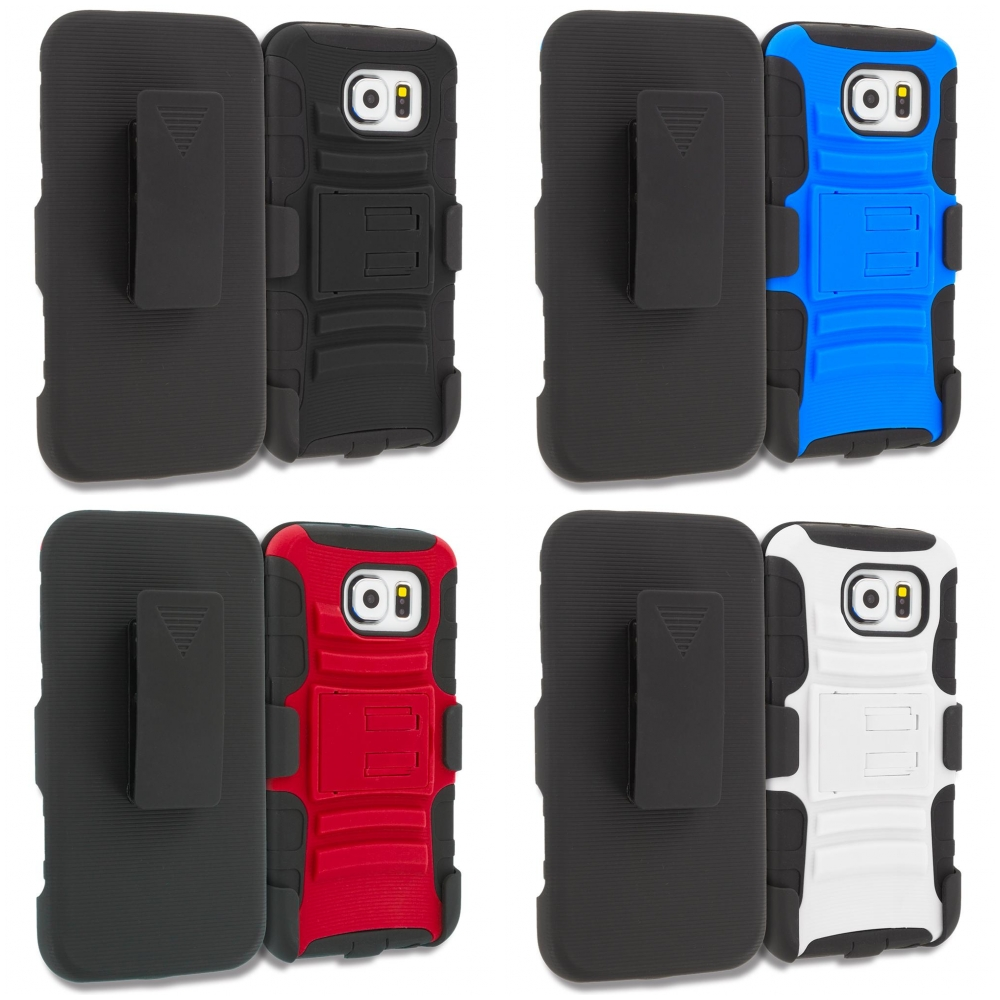 Samsung Galaxy S6 4 in 1 Combo Bundle Pack - Hybrid Heavy Duty Rugged Case Cover with Belt Clip Holster
