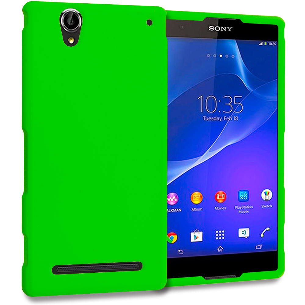Sony Xperia T2 Ultra D5303 Neon Green Hard Rubberized Case Cover