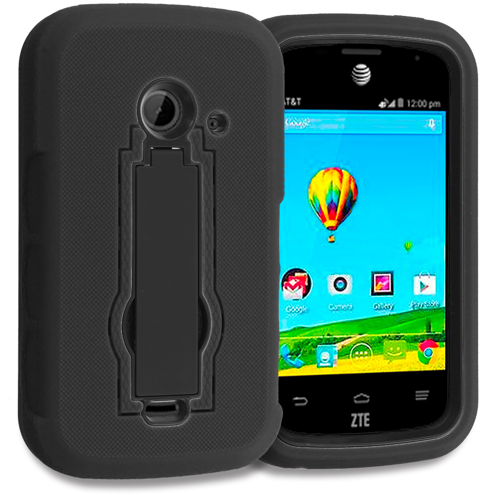 ZTE Zinger Prelude 2 Z667 Black / Black Hybrid Heavy Duty Hard Soft Case Cover with Kickstand