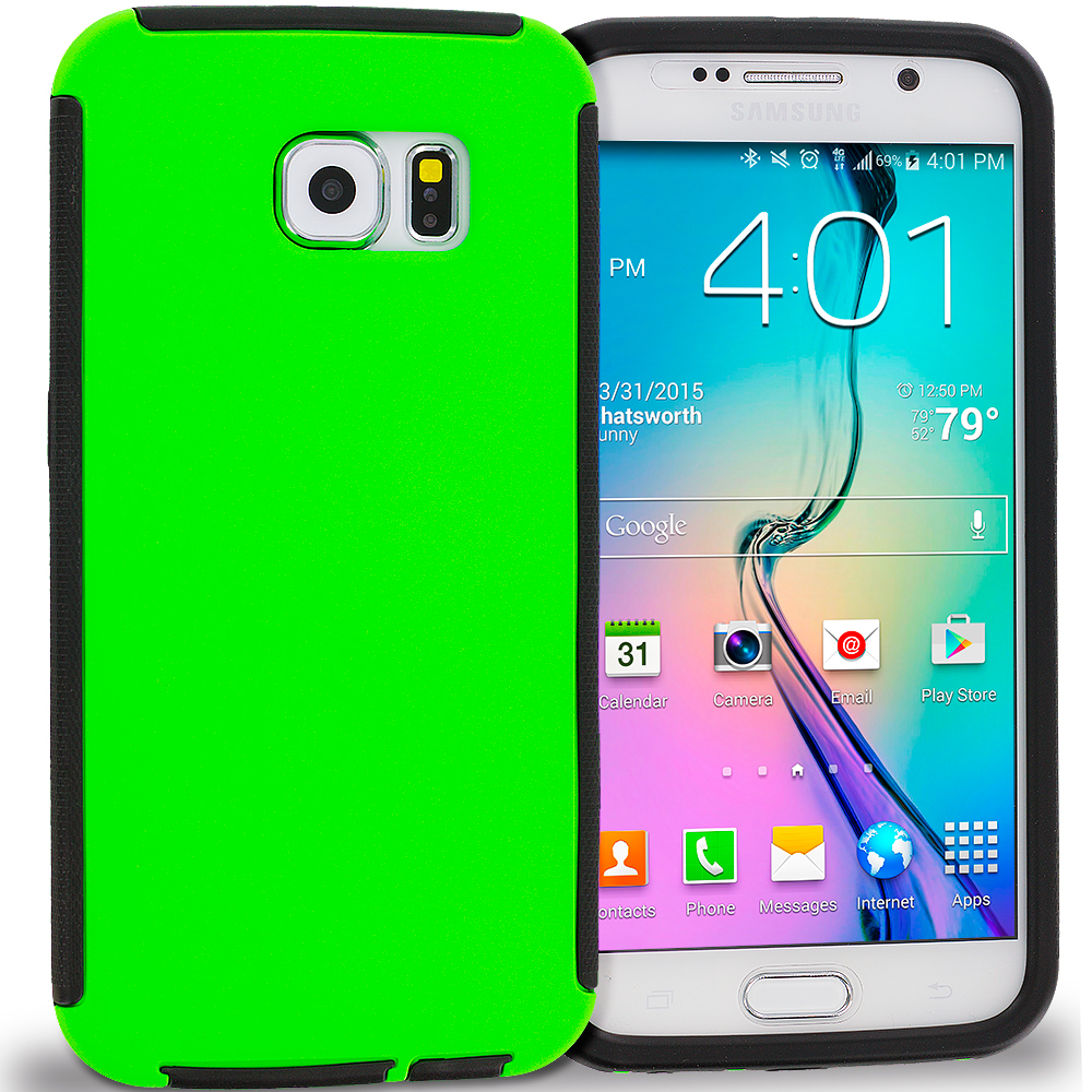 Samsung Galaxy S6 Black / Neon Green Hybrid Hard TPU Shockproof Case Cover With Built in Screen Protector