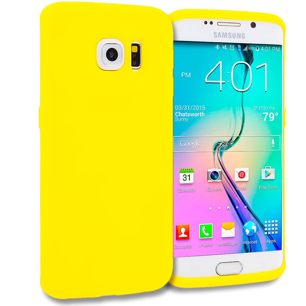 Samsung Galaxy S6 Edge 4 in 1 Combo Bundle Pack - Silicone Soft Skin Rubber Case Cover : Color Yellow