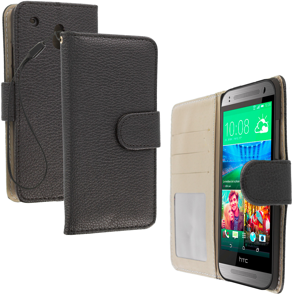 HTC One Mini Black Leather Wallet Pouch Case Cover with Slots