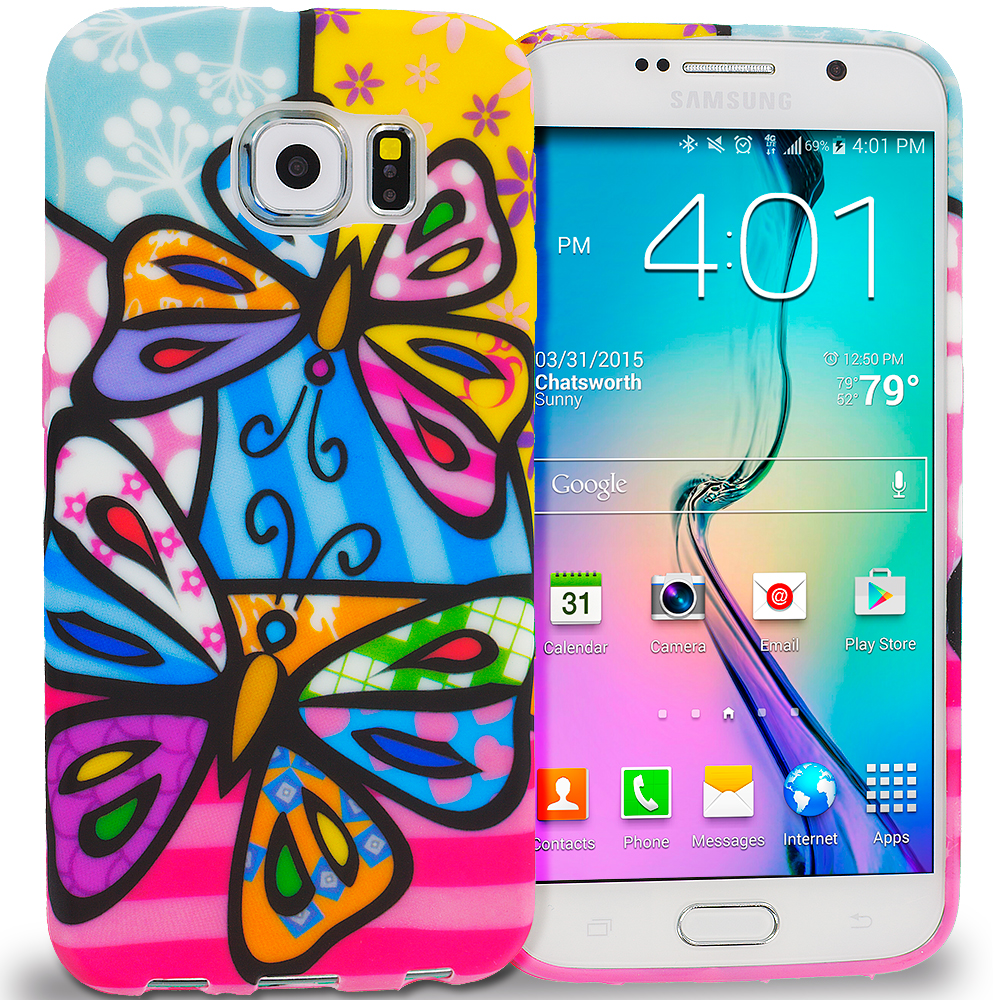 Samsung Galaxy S6 Edge Rainbow Butterfly TPU Design Soft Rubber Case Cover