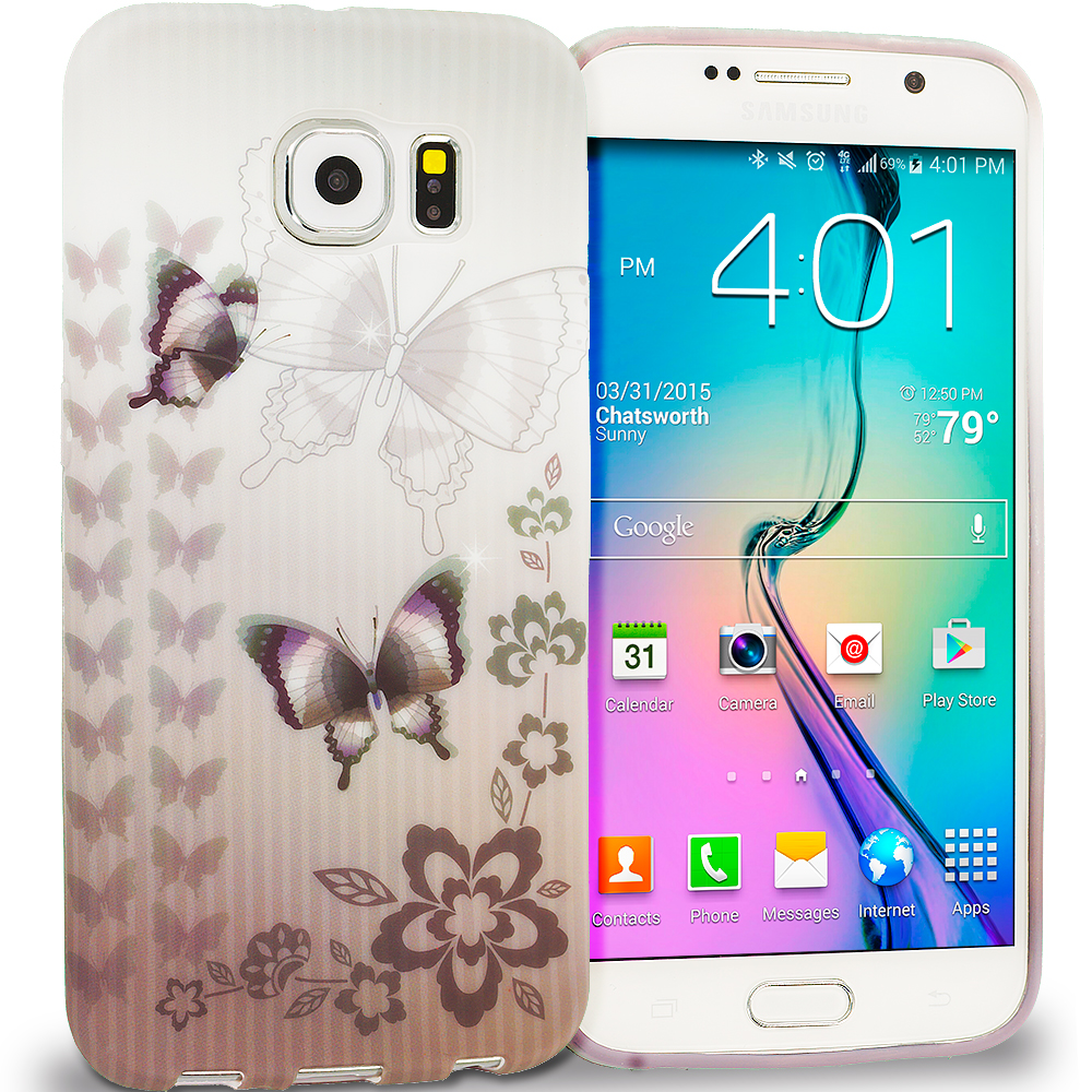 Samsung Galaxy S6 Edge Black Butterfly TPU Design Soft Rubber Case Cover