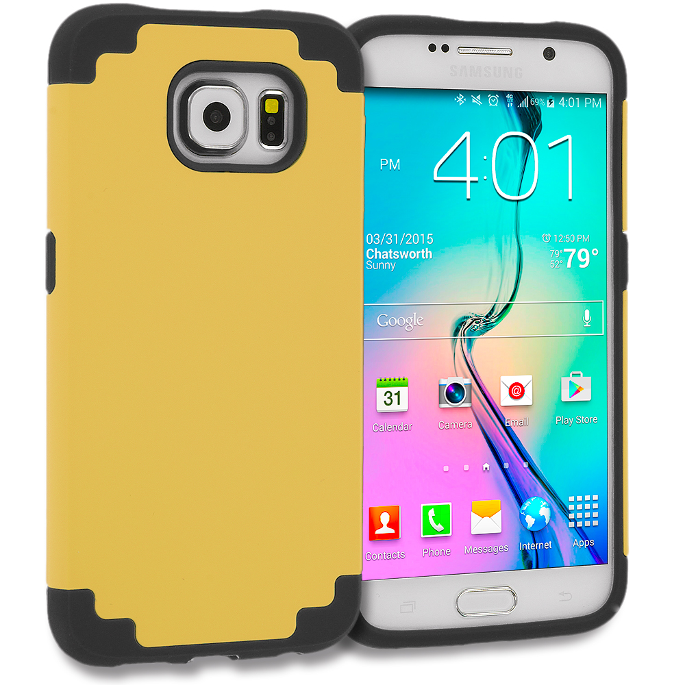 Samsung Galaxy S6 Edge Black / Gold Hybrid Slim Hard Soft Rubber Impact Protector Case Cover
