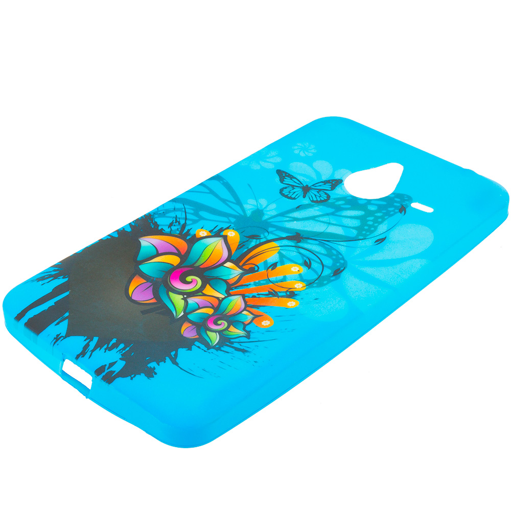 Microsoft Lumia 640 XL Blue Butterfly Flower TPU Design Soft Rubber Case Cover