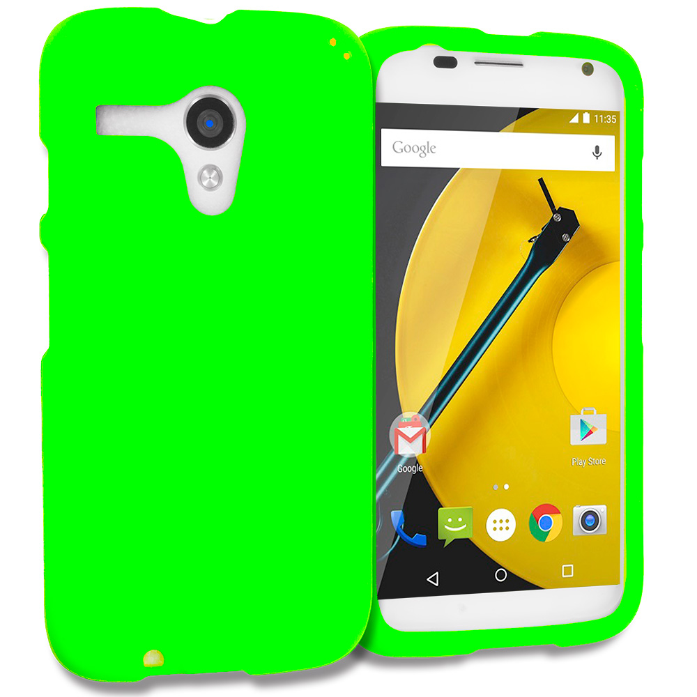 Motorola Moto E LTE 2nd Generation Neon Green Hard Rubberized Case Cover