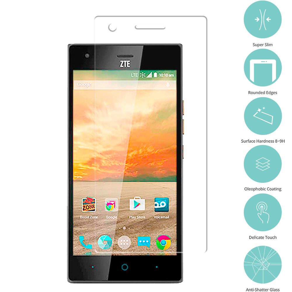 ZTE Warp Elite Clear Tempered Glass Film Screen Protector Clear