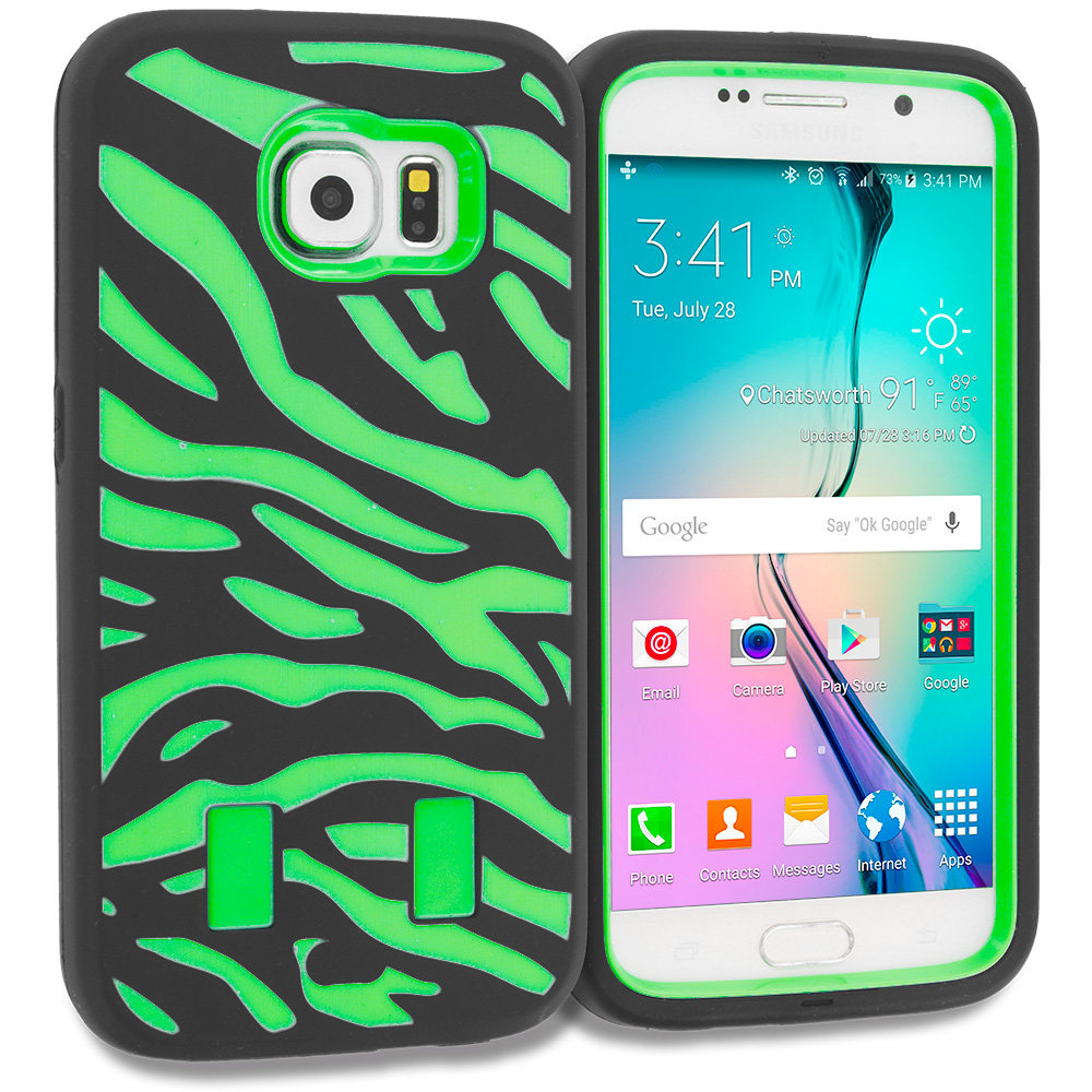 Samsung Galaxy S6 Combo Pack : Black Baby Blue Hybrid Zebra Hard/Soft Case Cover : Color Black Green