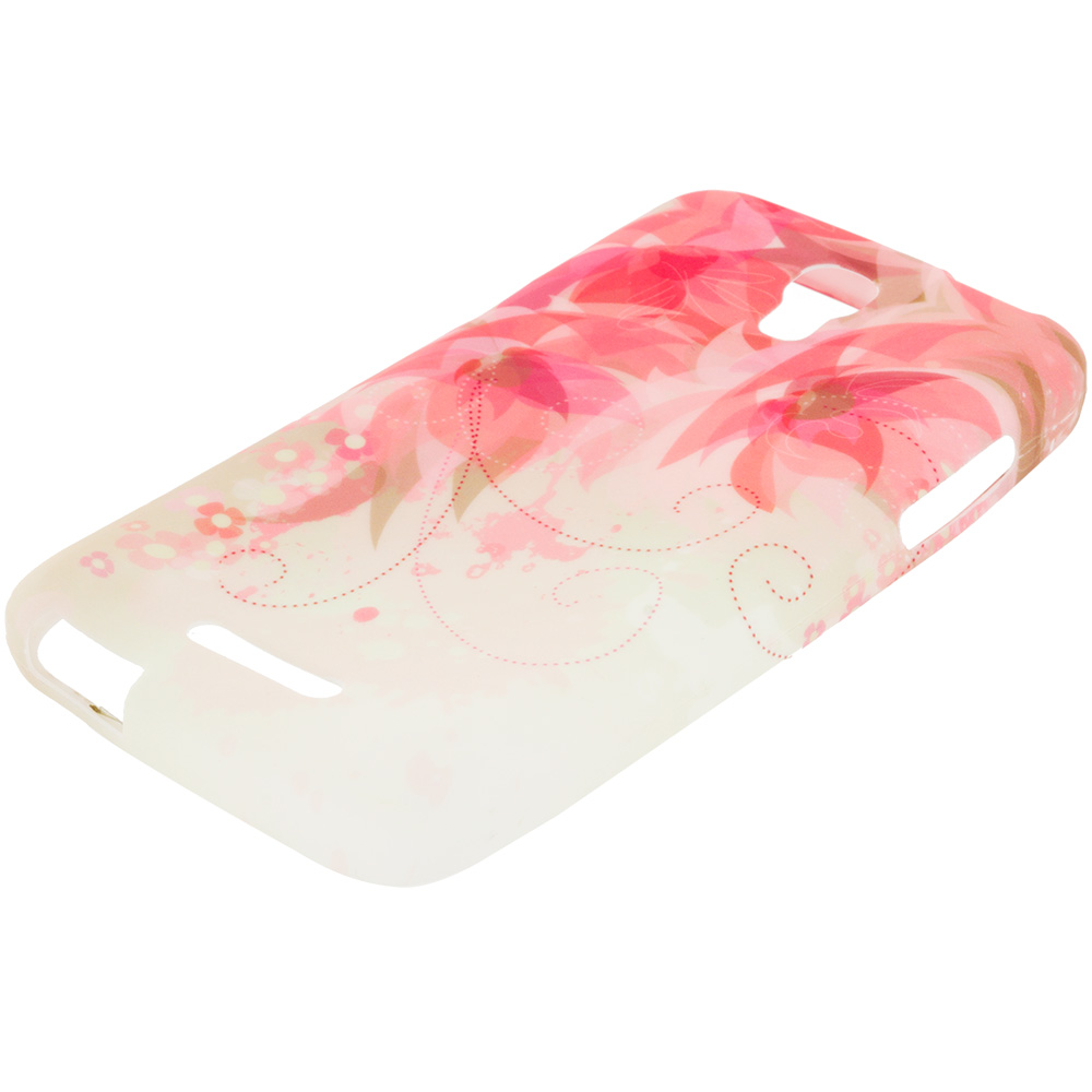 Alcatel One Touch Elevate Flower With Red Leaf TPU Design Soft Rubber Case Cover