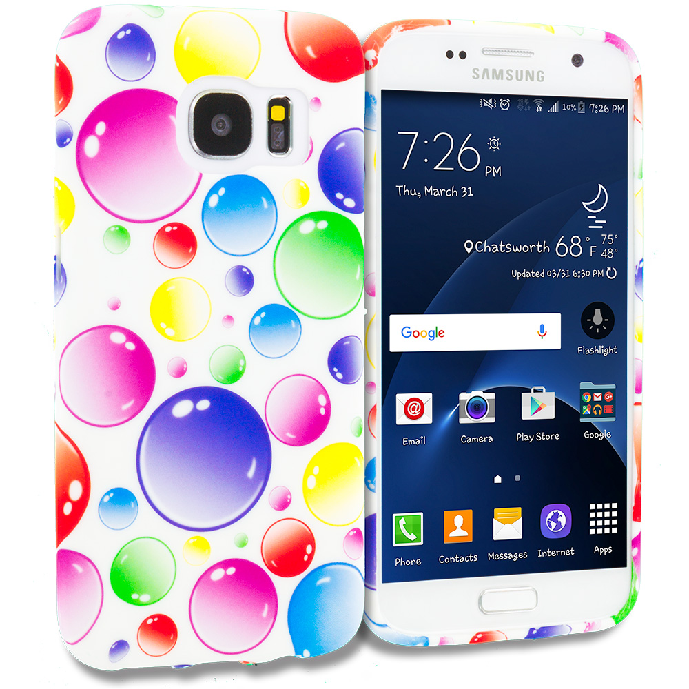 Samsung Galaxy S7 Combo Pack : Bubbles TPU Design Soft Rubber Case Cover : Color Bubbles
