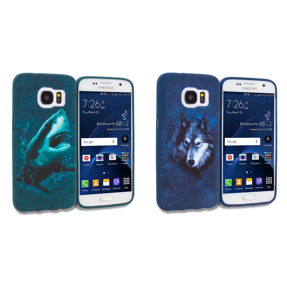 Samsung Galaxy S7 Combo Pack : Shark TPU Design Soft Rubber Case Cover