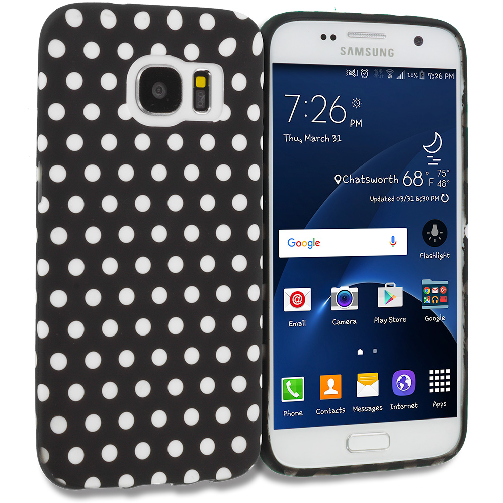 Samsung Galaxy S7 Edge Black / White Polka Dot TPU Design Soft Rubber Case Cover