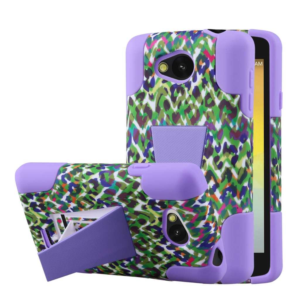 LG F60 - Purple Rainbow Leopard MPERO IMPACT X - Kickstand Case Cover