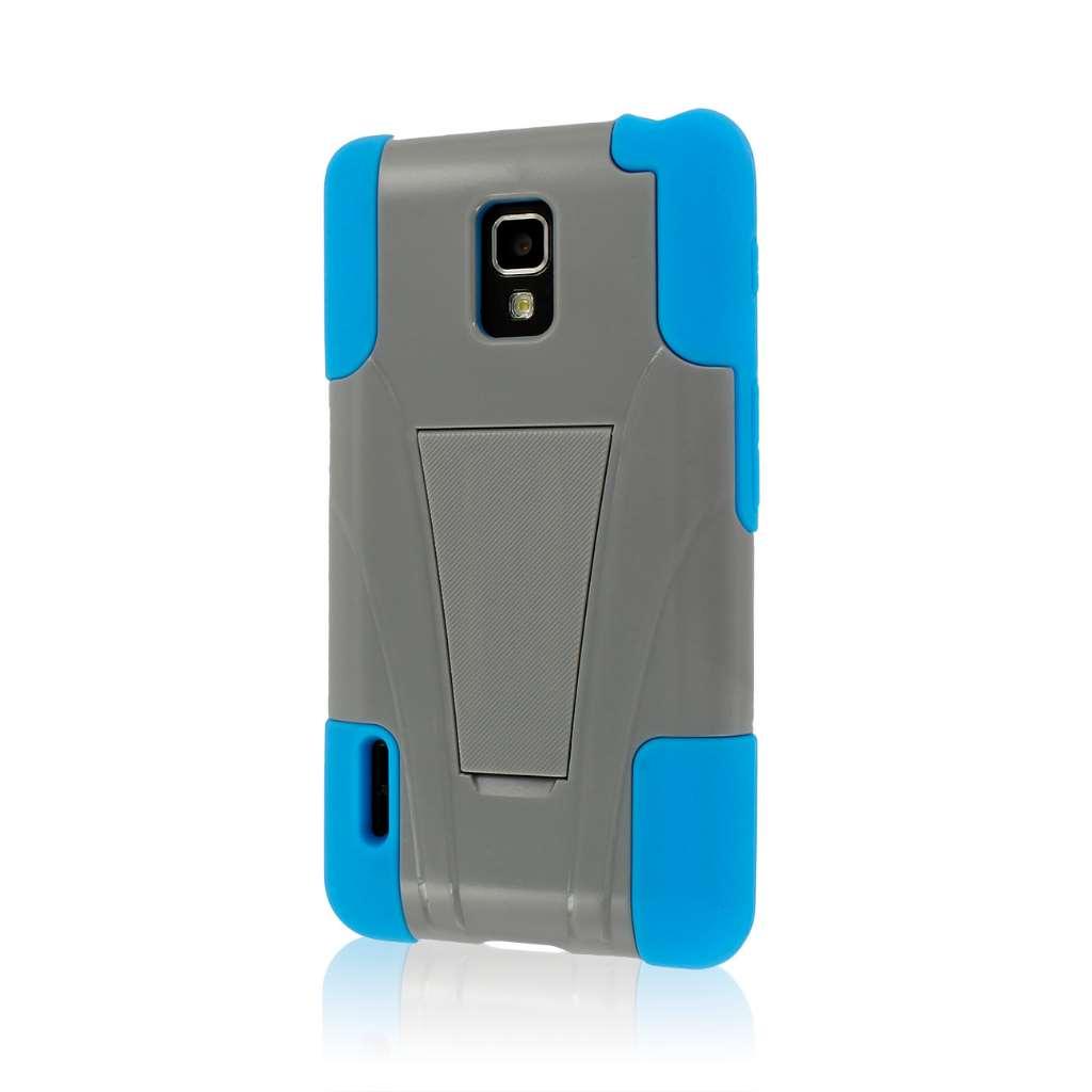 LG Optimus F7 US780 - Gray / Blue MPERO IMPACT X - Kickstand Case Cover