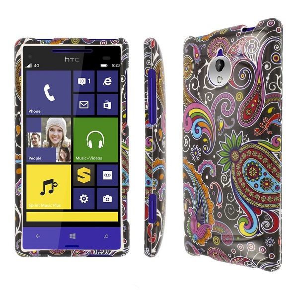 HTC 8XT - Black Paisley MPERO SNAPZ - Rubberized Case Cover