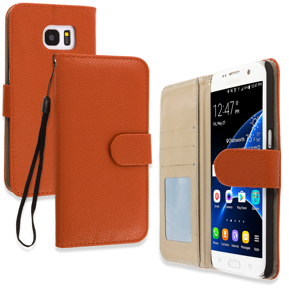 Samsung Galaxy S7 Edge Brown Leather Wallet Pouch Case Cover with Slots