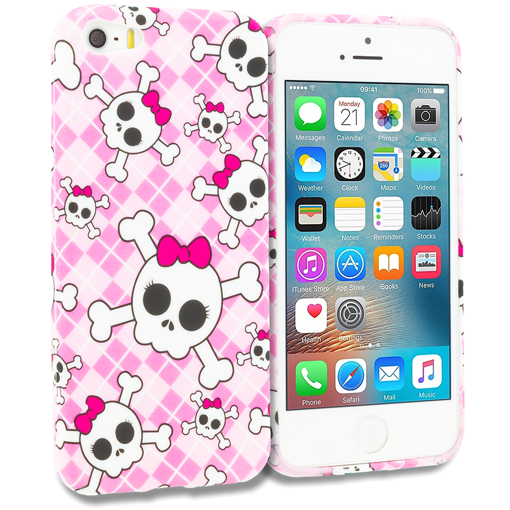 Apple iPhone 5/5S/SE Combo Pack : Cute Skulls TPU Design Soft Rubber Case Cover : Color Cute Skulls
