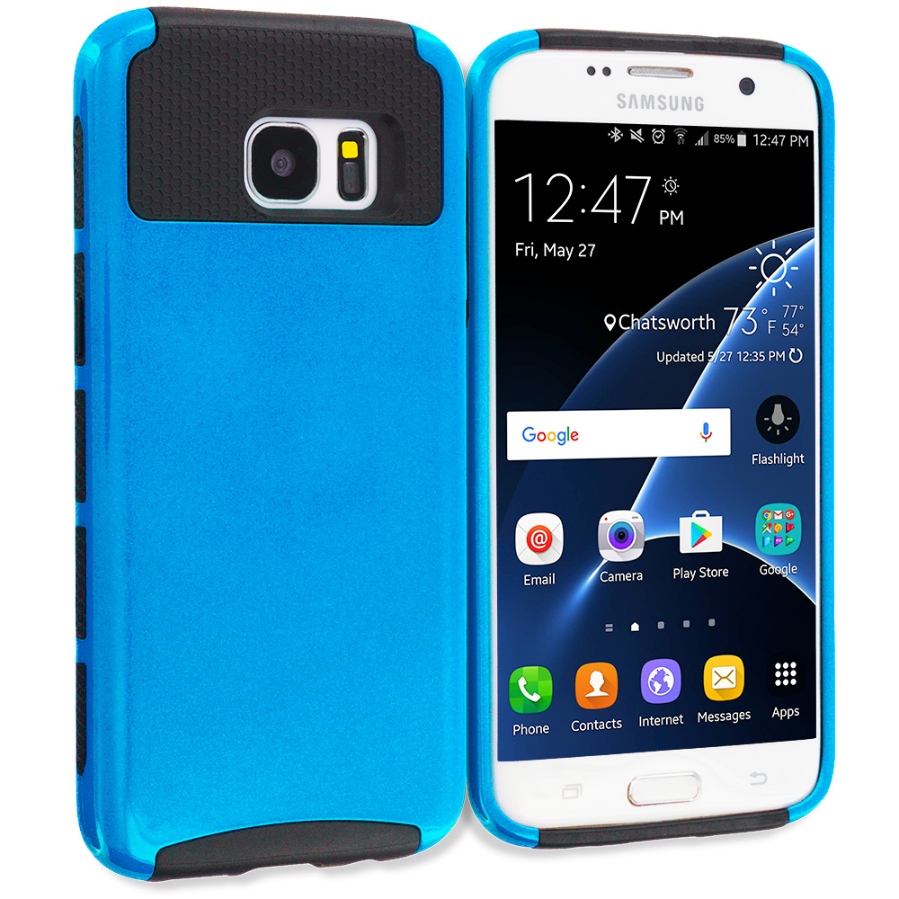 Samsung Galaxy S7 Edge Blue / Black Hybrid Hard TPU Honeycomb Rugged Case Cover