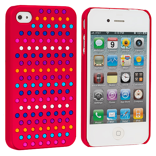 Apple iPhone 4 / 4S 2 in 1 Combo Bundle Pack - Rainbow Hot Pink Red Hard Rubberized Back Cover Case : Color Rainbow Red
