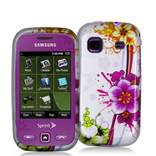 Samsung Trender M380 Purple Flower Chain Design Crystal Hard Case Cover