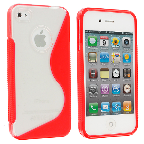 Apple iPhone 4 / 4S 2 in 1 Combo Bundle Pack - Clear / Red S-Line TPU Rubber Skin Case Cover : Color Clear / Red S-Line