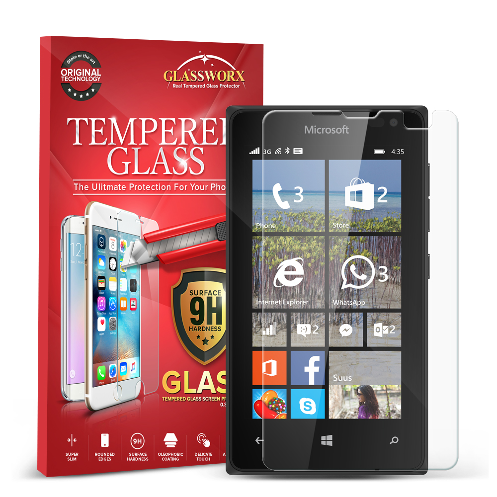 Nokia Microsoft Lumia 435 GlassWorX HD Clear Tempered Glass Screen Protector