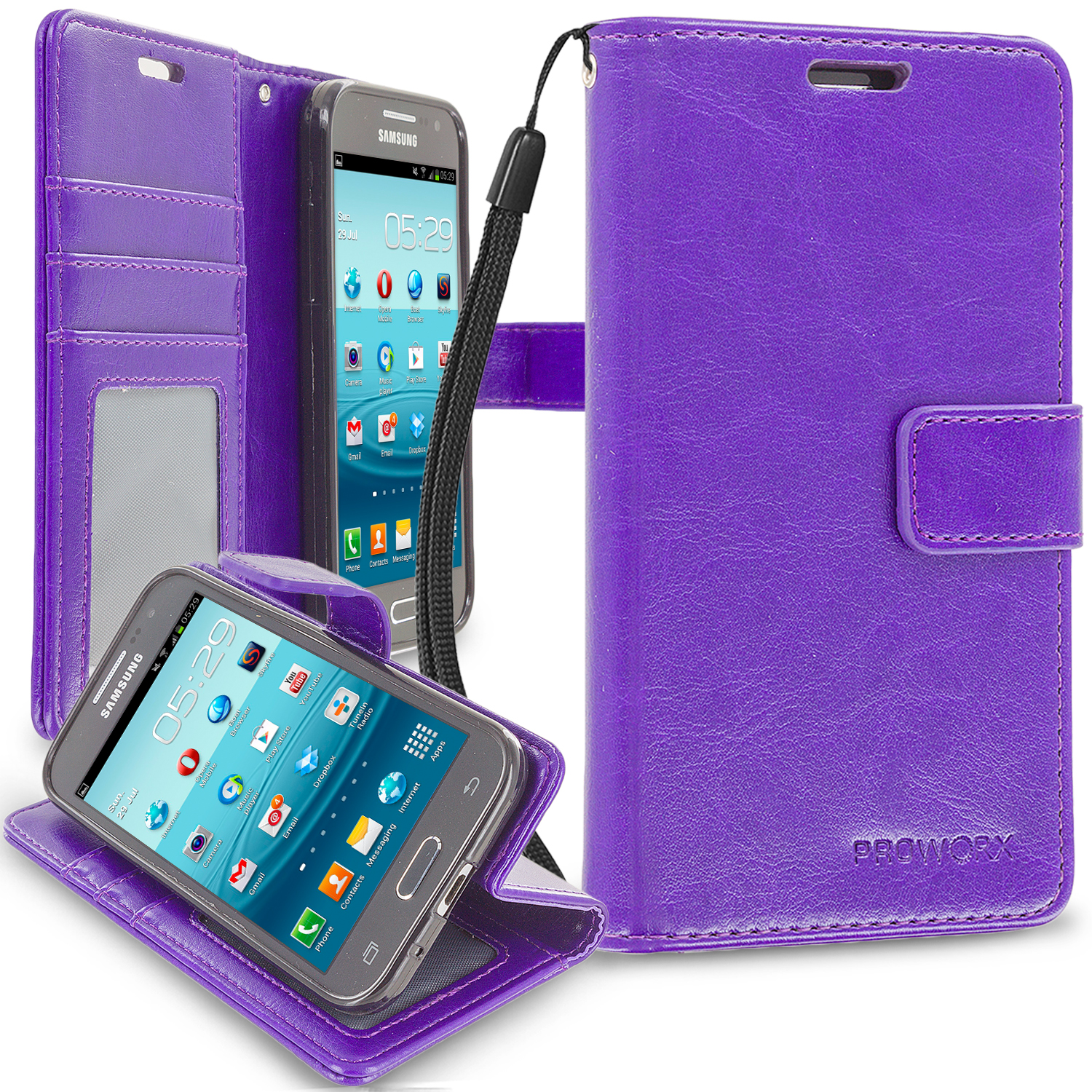Samsung Galaxy Prevail LTE Core Prime G360P Purple ProWorx Wallet Case Luxury PU Leather Case Cover With Card Slots & Stand
