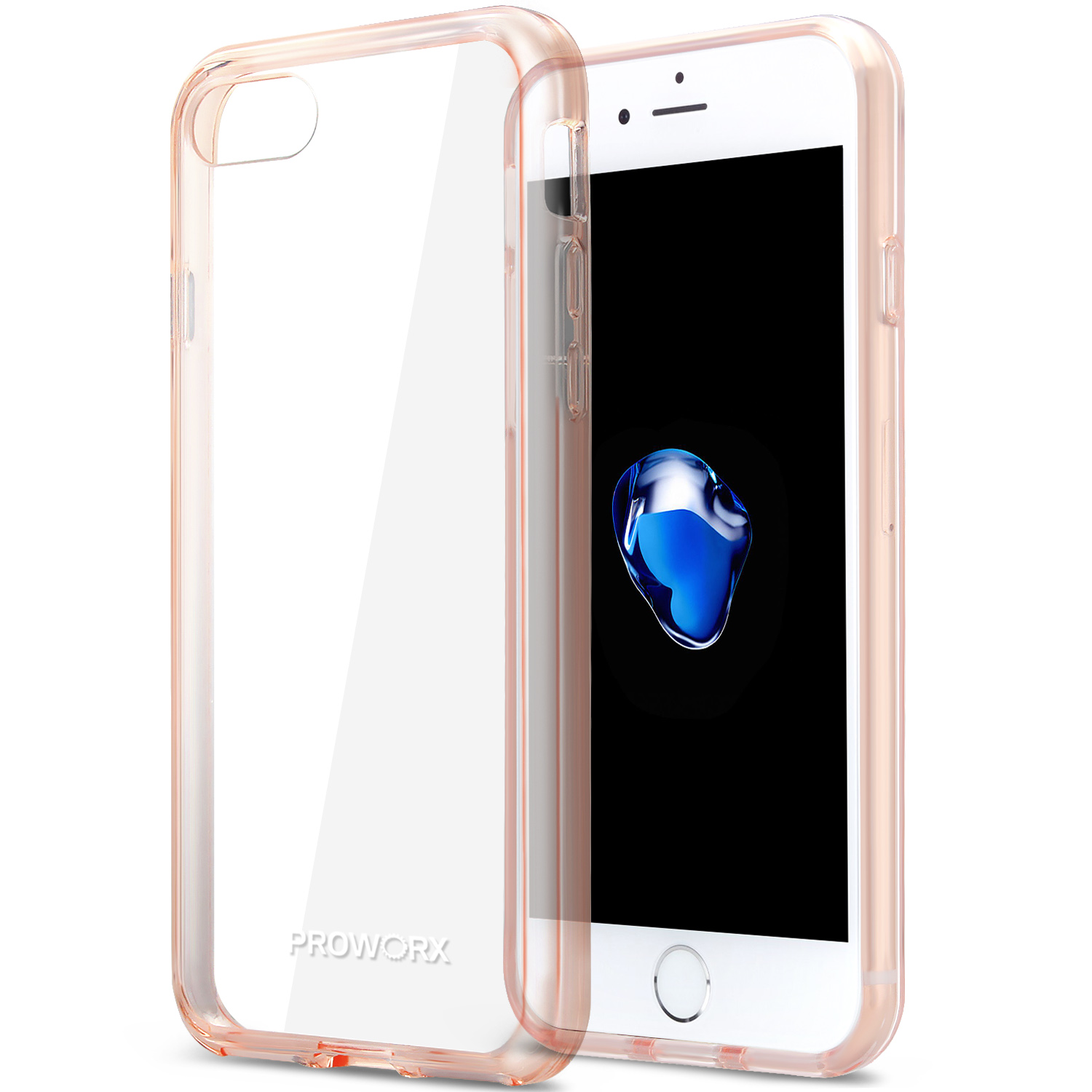 Apple iPhone 6 Plus 6S Plus (5.5) Rose Gold ProWorx Shock Absorption Case Bumper TPU & Anti-Scratch Clear Back Cover
