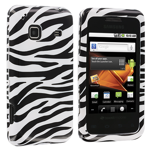 Samsung Galaxy Prevail M820 Black / White Zebra Design Crystal Hard Case Cover