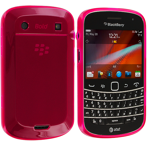BlackBerry Bold Touch 9900 9330 Hot Pink Plain TPU Rubber Skin Case Cover