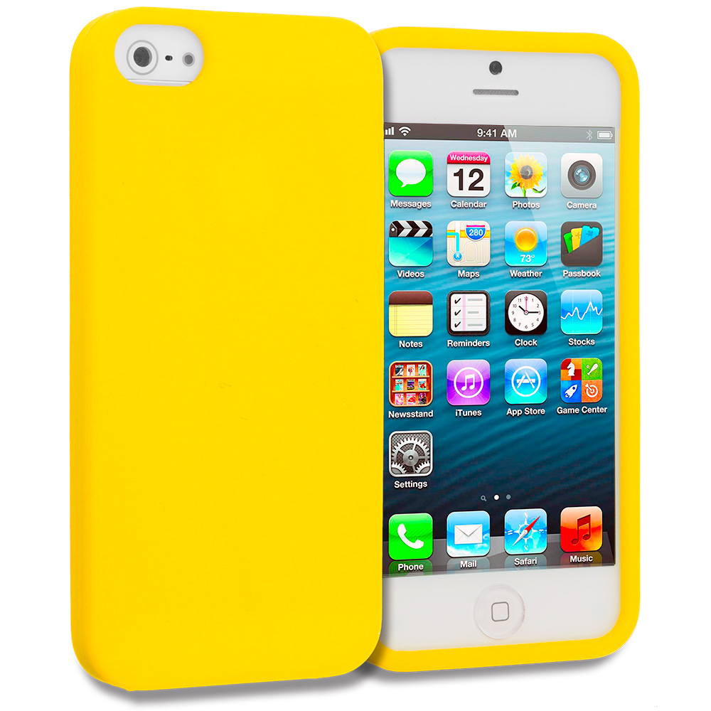 Apple iPhone 5/5S/SE Combo Pack : Neon Green Silicone Soft Skin Case Cover : Color Yellow