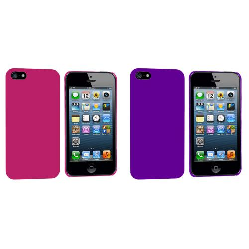Apple iPhone 5/5S/SE 2 in 1 Combo Bundle Pack - Hot Pink Purple Solid Crystal Hard Back Cover Case