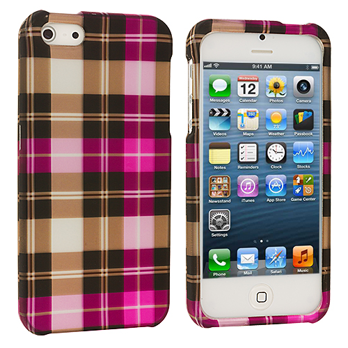 Apple iPhone 5/5S/SE 2 in 1 Combo Bundle Pack - Blue Pink Checkered Hard Rubberized Design Case Cover : Color Hot Pink Checkered