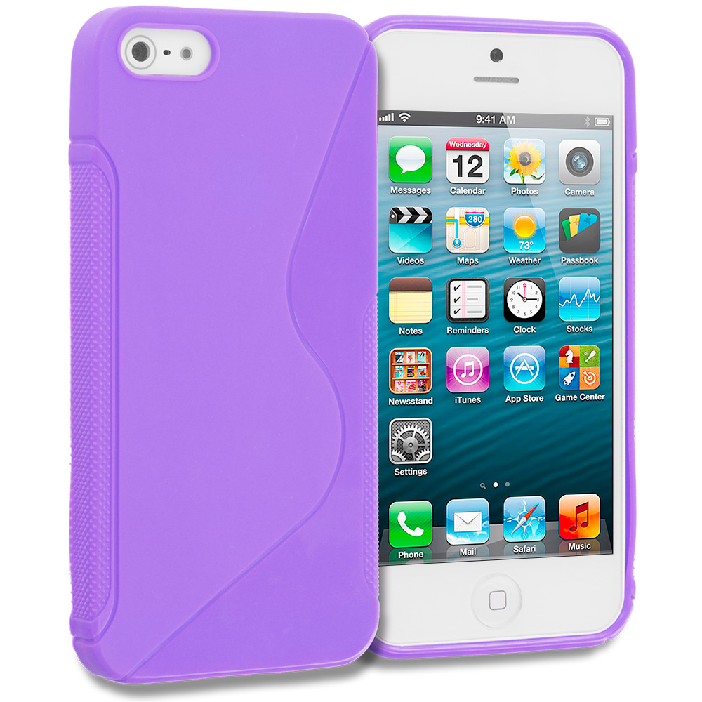 Apple iPhone 5/5S/SE Combo Pack : Purple S-Line Solid TPU Rubber Skin Case Cover : Color Purple S-Line Solid