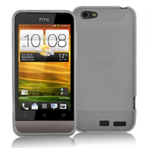 HTC One V Clear Plain TPU Rubber Skin Case Cover