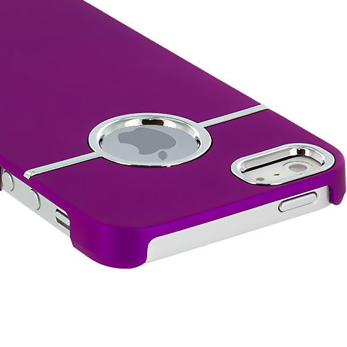 Apple iPhone 5 Purple Deluxe Hard Rubberized Back Cover Case