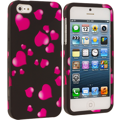 Apple iPhone 5/5S/SE Combo Pack : Colorful Bubbles Hard Rubberized Design Case Cover : Color Raining Hearts