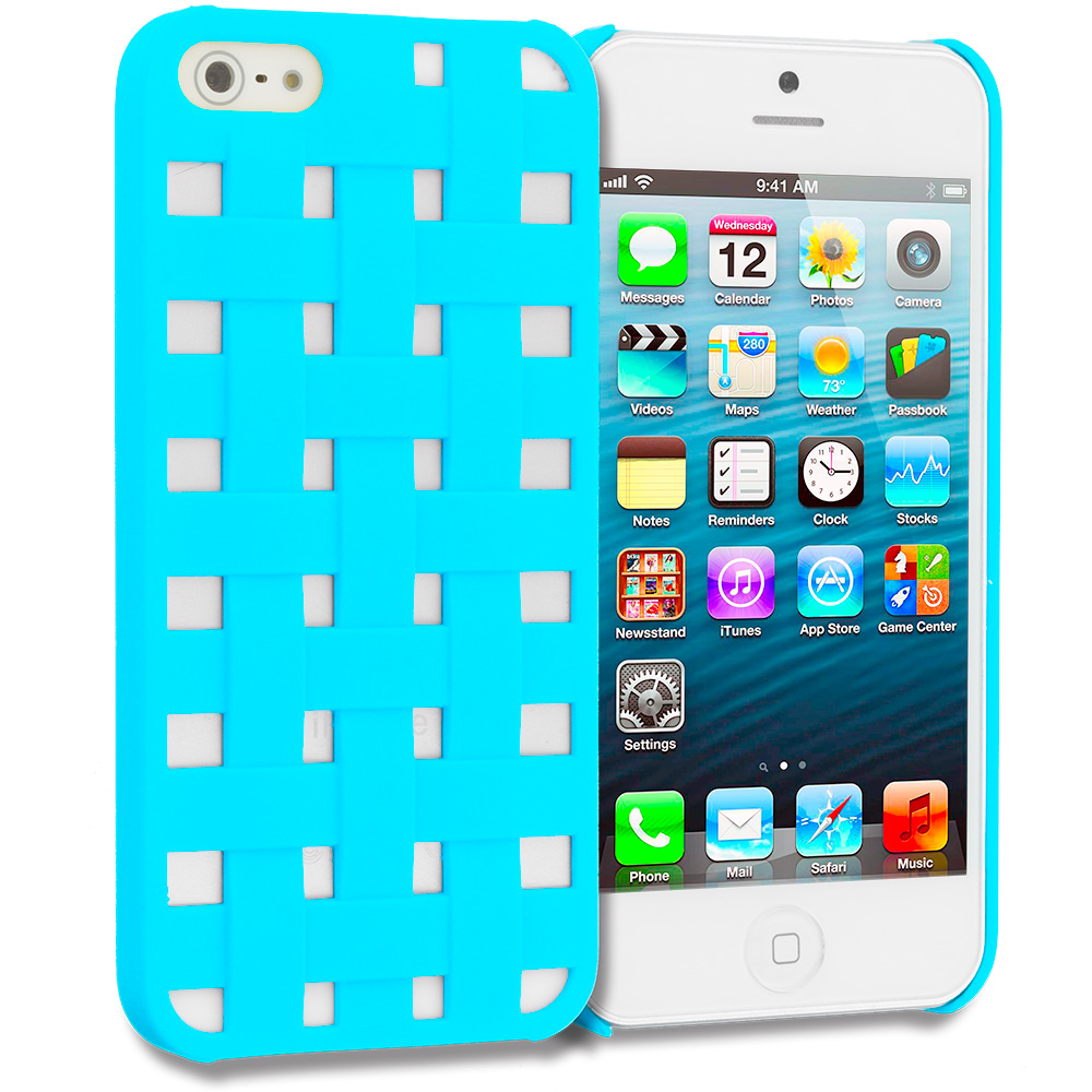 Apple iPhone 5/5S/SE Combo Pack : Baby Blue Handwoven Hard Rubberized Back Cover Case : Color Baby Blue Handwoven