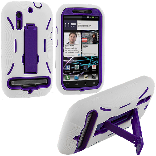 Motorola Photon 4G MB855 White / Purple Hybrid Heavy Duty Hard/Soft Case Cover with Stand