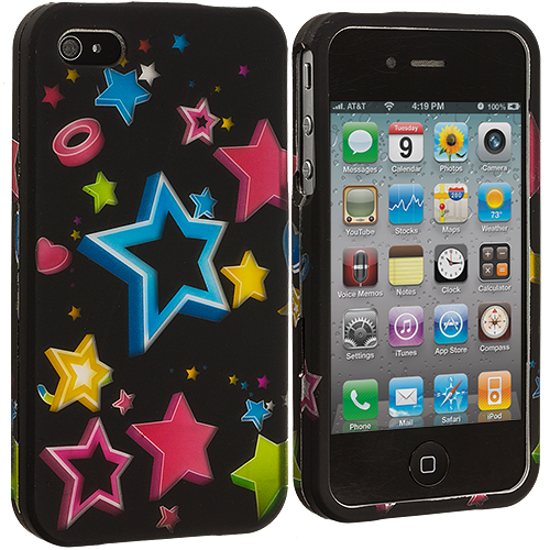 Apple iPhone 4 / 4S 2 in 1 Combo Bundle Pack - SuperStar Hard Rubberized Design Case Cover : Color Colorful Shooting Star