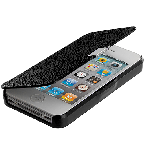 Apple iPhone 4 Black Texture Magnetic Wallet Case Cover Pouch