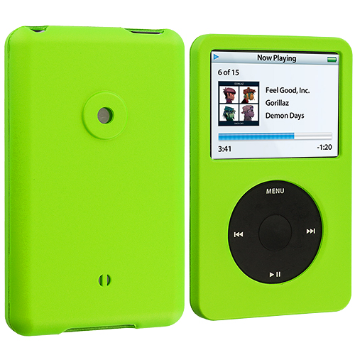 Apple iPod Classic Neon Green Hard Rubberized Case Cover