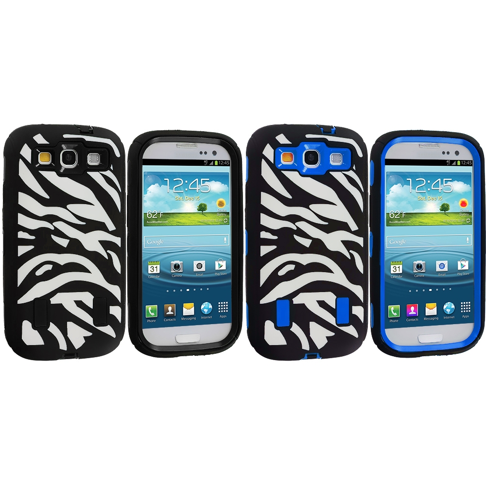 Samsung Galaxy S3 2 in 1 Combo Bundle Pack - Black / Blue Zebra Hybrid Zebra 3-Piece Case Cover