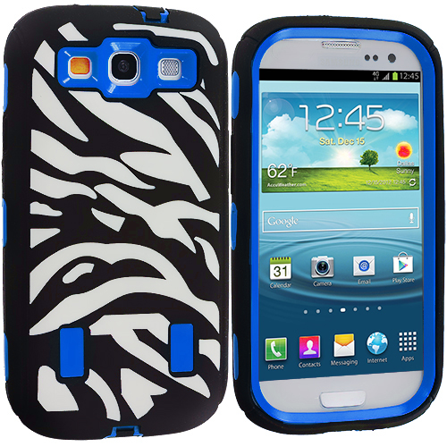 Samsung Galaxy S3 2 in 1 Combo Bundle Pack - Black / Blue Zebra Hybrid Zebra 3-Piece Case Cover : Color Black / Blue Zebra