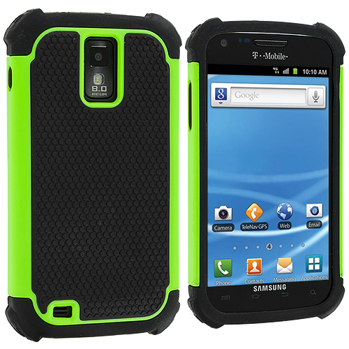 Samsung Hercules T989 T-Mobile Galaxy S2 Neon Green Hybrid Rugged Hard/Soft Case Cover