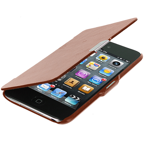 Apple iPod Touch 4th Generation Brown Texture Magnetic Wallet Case Cover Pouch